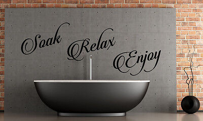 SOAK RELAX ENJOY WALL STICKER QUOTE BATHROOM SHOWER WALL ART DECAL X124