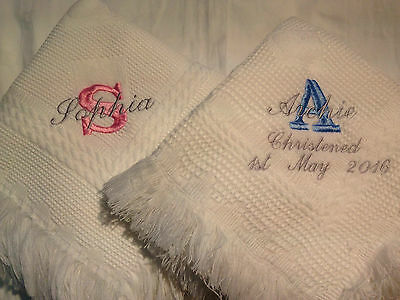 Personalised embroidered baby shawl blanket christening birth name in 4 colours