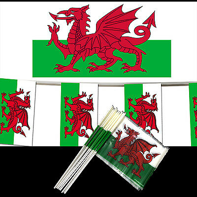 33ft Of Wales Welsh Dragon Cymru Triangle Flags Rugby Football National Bunting