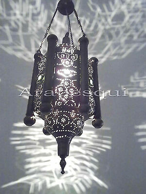 BR206 Mosaic Pierced Brass Moroccan Hanging Lamp *Antique Finish*