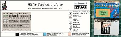 Eduard Tp 505 - 1/35 Photoetched Fotoincisioni Willys Jeep Data Plates