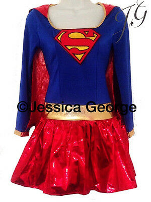 Super girl adult fancy dress costume,outfit 6,8,10,12,14