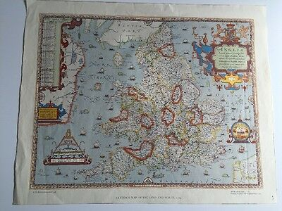 Colour Vintage Map - Saxon England & Wales - 1579 - Reissued British Library '85