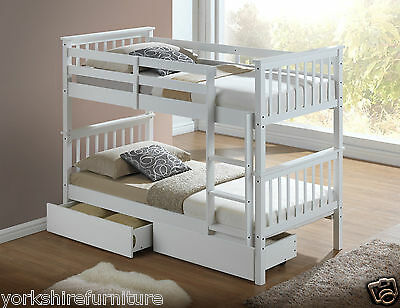 New Solid Wooden 3'ft Single Bunk Bed With Drawers In White Or Maple Wood