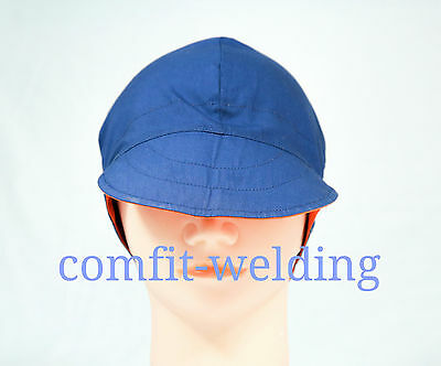 New pure cotton welding hat cap for welder painter pipe-fitter, orange and blue
