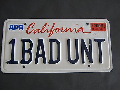 "Personalized California License Plate ""1BAD UNT""  1 BAD UNIT Police / Sheriff"