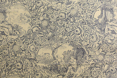 Black French Toile de Jouy Japan Yuwa Fabric Live Life Collection- Per Meter