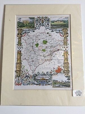 Colour Vintage Map -Rutlandshire - 1800s - Reissue 20th Century