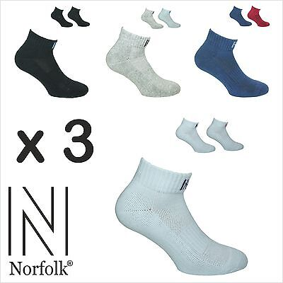 3 x Mens Thick Terry Ankle Sport Socks 2 Pair Pack -Fred