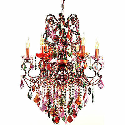 Mardi Gras Chandelier French Quarter Style Pink Green Blue Violet LEAD Crystal