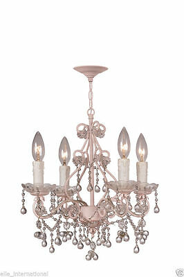 Chandelier w Hand Cut Crystal French Pink Paris Ceiling Light New Free Shipping