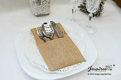 Wedding Hessian Burlap Cutlery Holders Table Set Up Centerpiece Party Plain