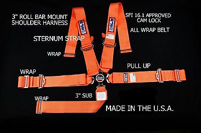Rjs Racing Sfi 16.1 Cam Lock 5 Pt Harness Roll Bar Orange Sternum Strap 1068805