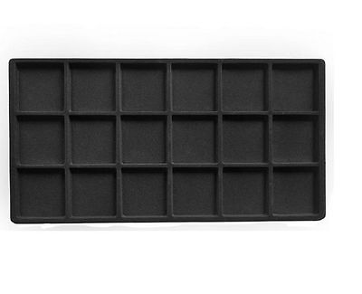 US Seller~6pcs Black Flocked 18 Compartment Jewelry Display Tray Insert
