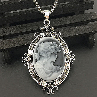 Antique Silver Grey Cameo n Black Crystal Pendant Chain Sweater Necklace