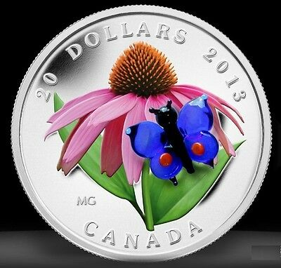 2013 Canada $20 Murano Venetian Glass Butterfly 1oz Silver Proof Coin coloured