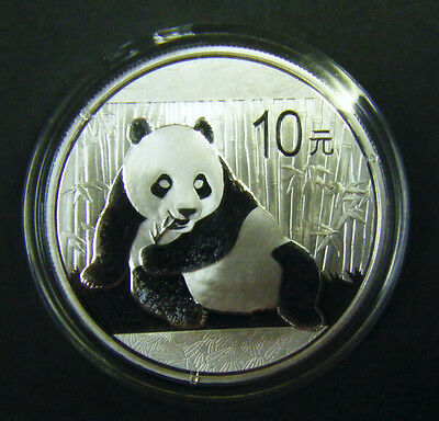 2015 China Silver Panda coin 1 oz .999 Fine 10 Yuan Chinese in Capsule