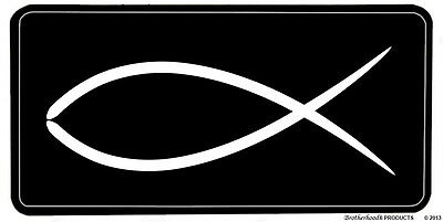 Christian Black and White Fish Emblem Aluminum License Plate