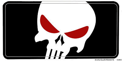The Punisher Black & White with Red Eyes Aluminum License Plate