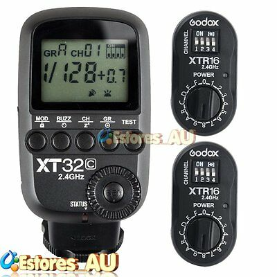 【AU】Godox XT32C 2.4G 1/8000s Wireless Flash Trigger+2x XTR-16 Receiver For Canon