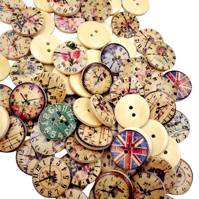 50 Vintage Mixed Wooden Buttons Round 2-Holes Sewing Scrapbooking DIY 20mm