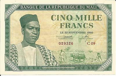 5000 Francs Mali   Pick  5   22/09/1960    Vf/xf   Ttb/sup