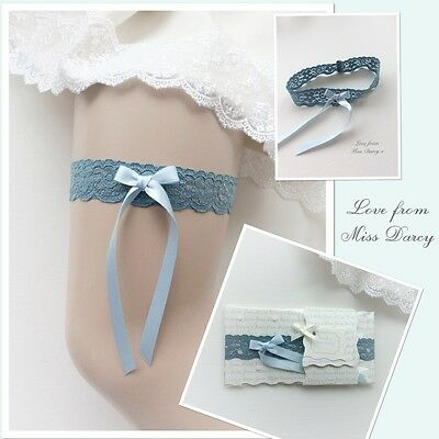 Teal Lace Baby Blue Bow Love from Miss Darcy Wedding Brides Bridal Hen Garter