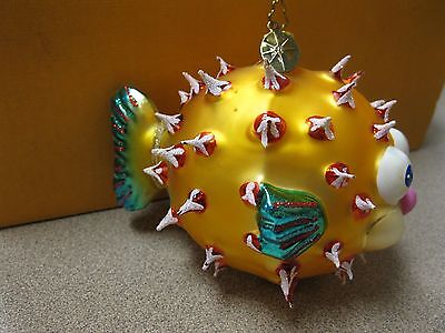"Christopher Radko Hand Crafted Glass Christmas Ornament ""Blowfish"" FREE SHIPPING"