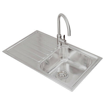 Stainless Steel 850mm LH Single Bowl Compact Kitchen Sink + Drainer + Waste Kit