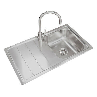 Luxury 860mm LH Single Bowl Stainless Steel Compact Kitchen Sink + Waste Kit