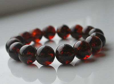 Round Cherry Baltic Amber Beads Bracelet 20.5 gr
