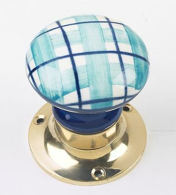 Pair of Blue and White Chequered Mortice Door Knobs With Brass Blackplates