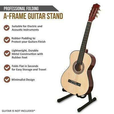 Folding Guitar Stand Metal Electric Music Acoustic Free Standing A Frame Stand