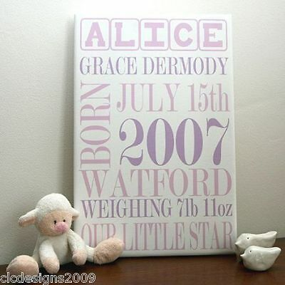 Personalised New Baby Typographic Canvas Print Gift