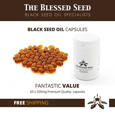 60x Cold pressed Black Seed Oil Capsules - Nigella Sativa - Black Cumin/ Kalonji