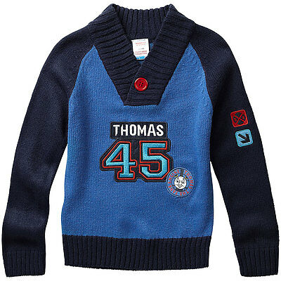 Boys Thomas & Friends Long Sleeved Shawl Collar Button Knitted Acrylic Jumper