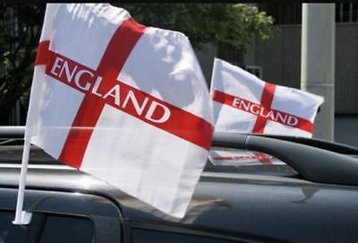 2 Pack England Football Supporter Car Flags St George Cross Clip On Sports Event