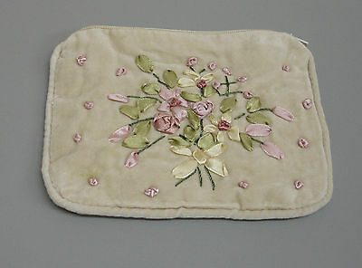 New Cream Velvet Embroidered Purse Credit Card Pouch Case Ribbon Decoration RP40