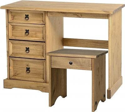 Corona Mexican 4 Drawer Dressing Table Set Distressed Waxed Pine