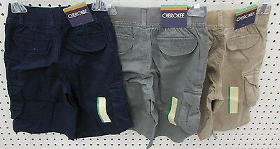 Cherokee Boy's Cargo Twill Shorts w/ Elastic Waist   -  Size 7 (Pick Your Color)