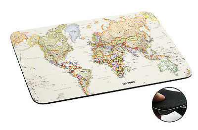 178 World Map Atlas Anti-slip Mousepad Mouse Pad For Macbook PC Laptop-3MM