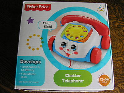 Classic Fisher~Price CHATTER TELEPHONE Pull Toy Moving Eyes & Phone Sounds~~NIB!