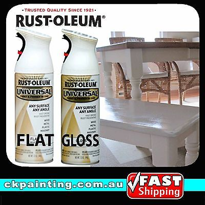 Rust-Oleum White Spray Paint Flat Gloss Satin Universal All Purpose Spray Paints