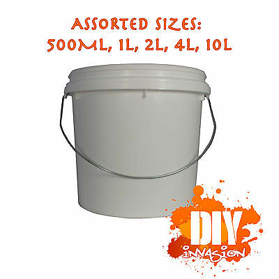 White Plastic Paint Pots 500ml 1L 2L 4L 10L Painting Buckets