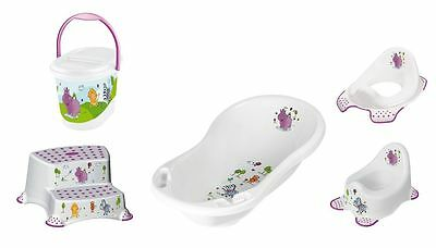 Set Of 5 Z Hippo white : tub XXL + WC + Pot + Two-step stool