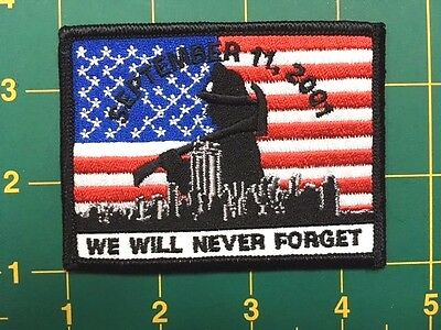 """AMERICAN FLAG Patch 9-11 Tribute 911 memorial patch iron on 3.5/"""" wide"""