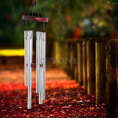 Deep Amazing Grace Chapel Church Wind Chime 6 Tubes Wood Red Home Yard Decor