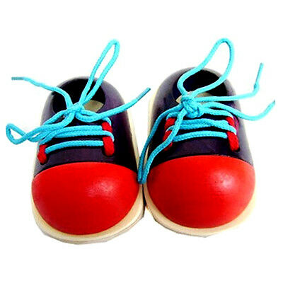 1pc Kid's Wood Toy Learn To Tie Shoelaces Hand Fine Motor Skills Development Toy