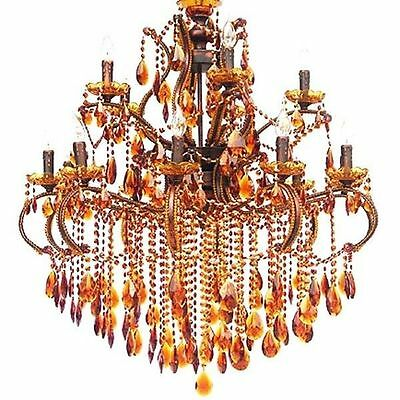 Chandelier Amber Gold Bronze Finished Iron UL Listed New Free shipping