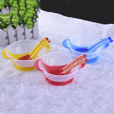 Baby Suction Bowl Temperature Changing Spoon & Fork for Infant Feeding Tableware